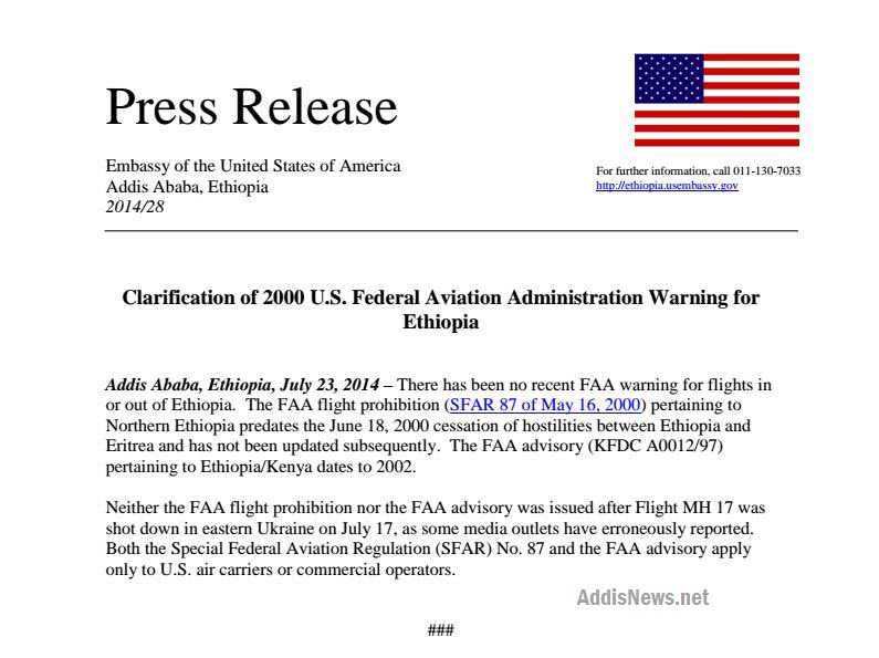 Ethiopian Airlines PR No fly zone