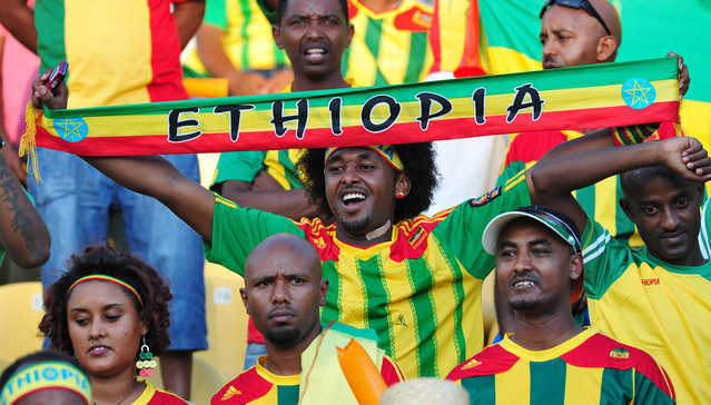 Ethiopia fans during the Orange Africa Cup of Nations, South Africa 2013 match between Ethiopia and Nigeria at Royal Bafokeng Stadium in Rustenburg, South Africa on 29 January 2013 ©Ryan Wilkisky/BackpagePix