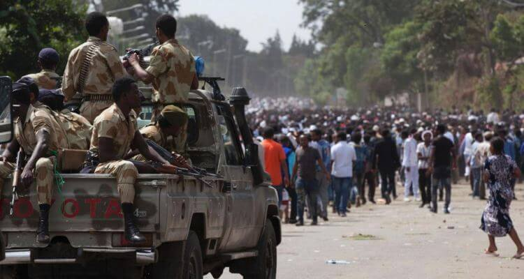 Ethiopian protest and security forces