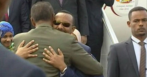 Abiy ahmed visit Eritrea Asmara welcomed by Isaias Afeworki 5