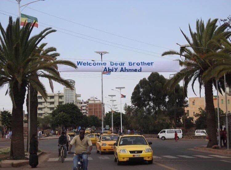 pm abiy ahmed welcome banner in Eritrea