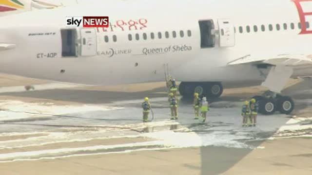 Firefighters-Examine-Ethiopian-Airlines-Plane-After-Fire