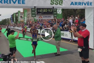Ebisa Ejigu, Quebec City Marathon winner performed a sign of protest against Ethiopian government