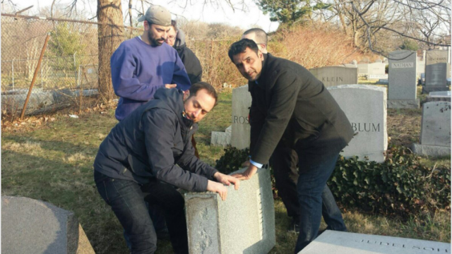 Muslim-Americans help repair hundreds of vandalized Jewish gravestones in Philadelphia