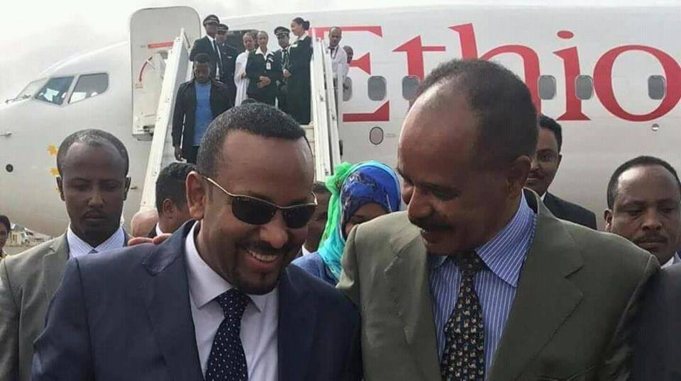 Abiy ahmed visit Eritrea Asmara welcomed by Isaias Afeworki