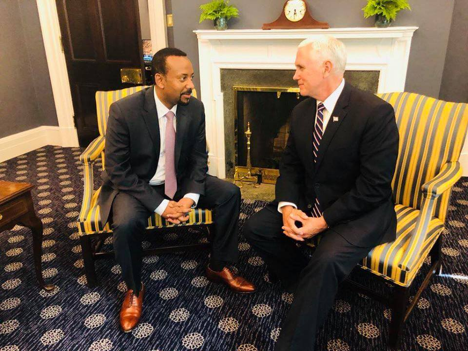 Ethiopian PM Abiy Ahmed meeting vice president Mike Pence