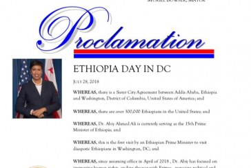 "Washington DC Mayor Proclaimed July 28, 2018 to be ""Ethiopia Day in DC"""
