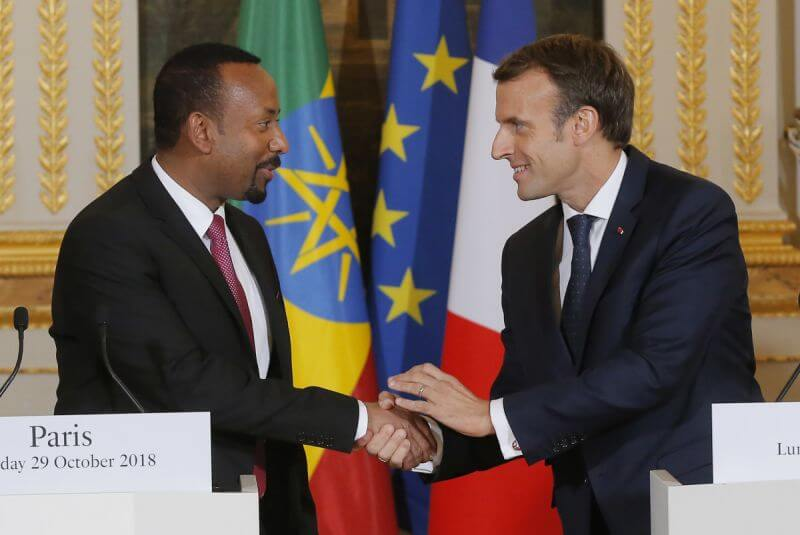 Ethiopian Prime Minister Ably Ahmed and French President Emmanuel Macron