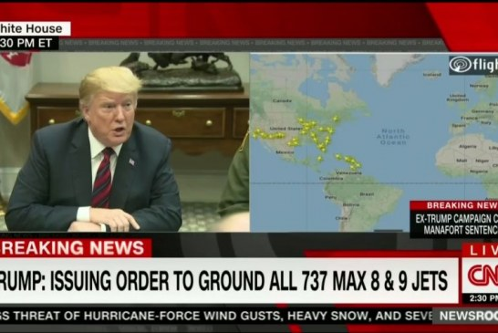 President Trump announced United States grounding all Boeing's 737 Max 8s and 9s