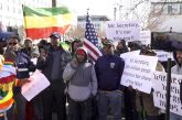Ethiopian-Americans rally against the Trump administration's involvement in negotiations over Nile dam