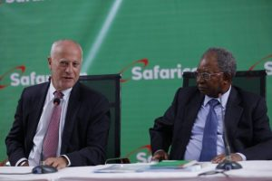 Safaricom interim CEO Michael Joseph and Chairman Nicholas Nganga
